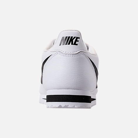 Back view of Men's Nike Classic Cortez Leather Casual Shoes in White/Black