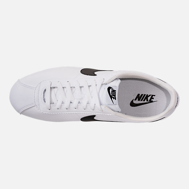 Top view of Men's Nike Classic Cortez Leather Casual Shoes in White/Black