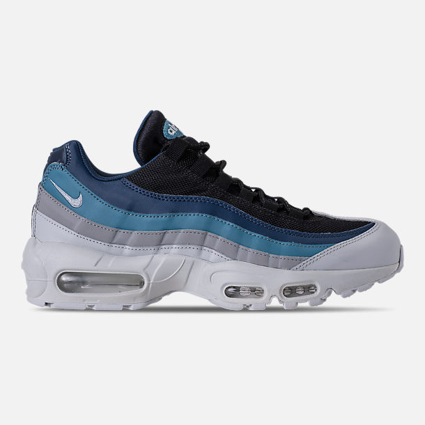 Right view of Men's Nike Air Max 95 Essential Running Shoes in Pure Platinum/Black/Navy/Noise Aqua
