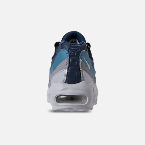 Back view of Men's Nike Air Max 95 Essential Running Shoes in Pure Platinum/Black/Navy/Noise Aqua