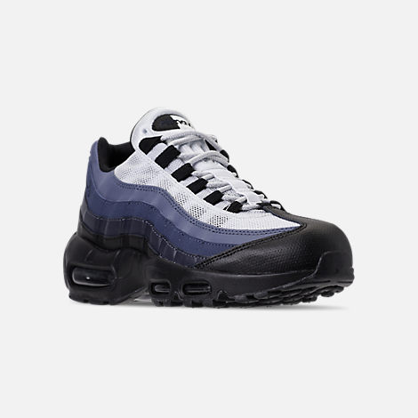 Three Quarter view of Men's Nike Air Max 95 Essential Casual Shoes in Black/Obsidian/Navy Blue