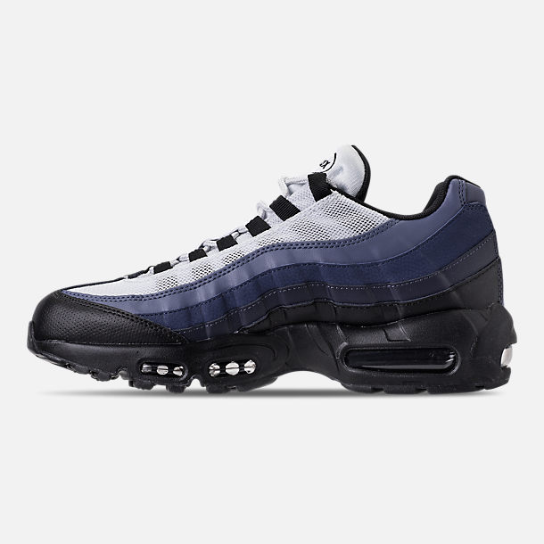 Left view of Men's Nike Air Max 95 Essential Casual Shoes in Black/Obsidian/Navy Blue