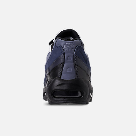 Back view of Men's Nike Air Max 95 Essential Casual Shoes in Black/Obsidian/Navy Blue