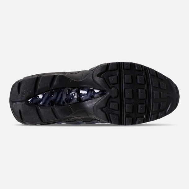 Bottom view of Men's Nike Air Max 95 Essential Casual Shoes in Black/Obsidian/Navy Blue