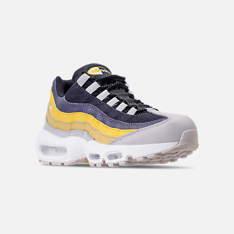 Three Quarter view of Men's Nike Air Max 95 Essential Casual Shoes in White/Vast Grey/Lemon Wash