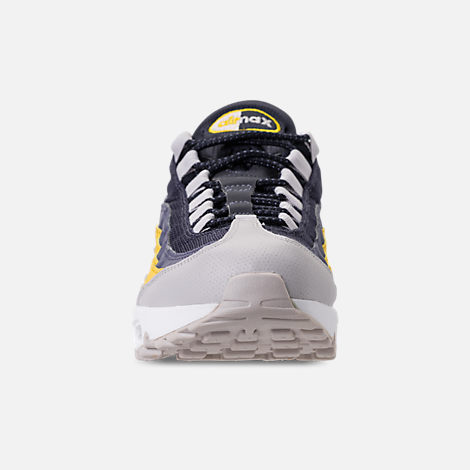 Front view of Men's Nike Air Max 95 Essential Casual Shoes in White/Vast Grey/Lemon Wash