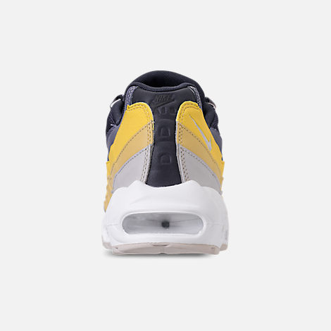 Back view of Men's Nike Air Max 95 Essential Casual Shoes in White/Vast Grey/Lemon Wash