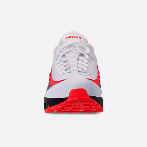 Front view of Men s Nike Air Max 95 Essential Casual Shoes in White Bright  Crimson d8a365c7b