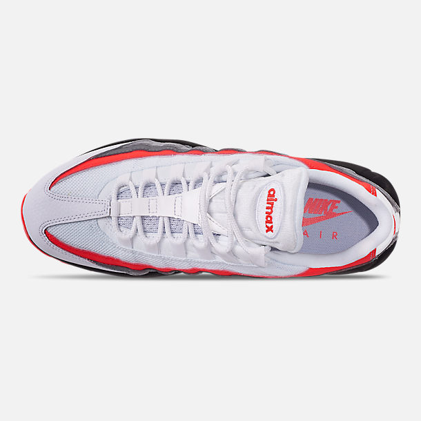 Top view of Men s Nike Air Max 95 Essential Casual Shoes in White Bright  Crimson 4d9cc6af2