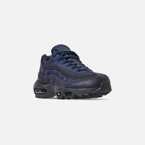Three Quarter view of Men's Nike Air Max 95 Essential Casual Shoes in Squadron Blue/Midnight Navy