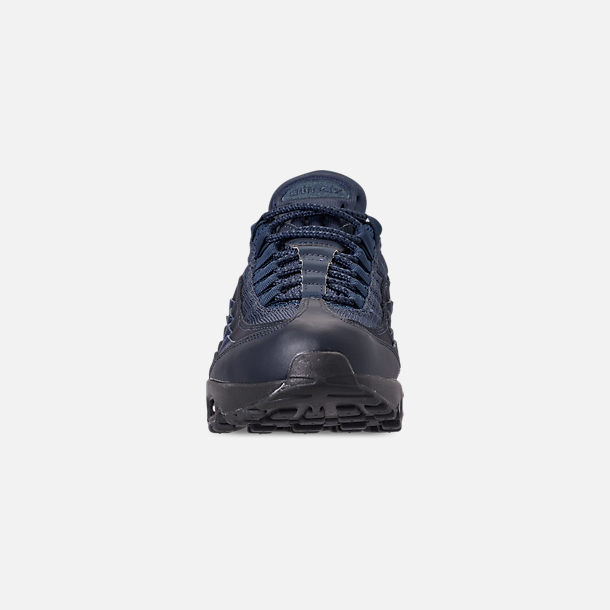 Front view of Men's Nike Air Max 95 Essential Casual Shoes in Squadron Blue/Midnight Navy