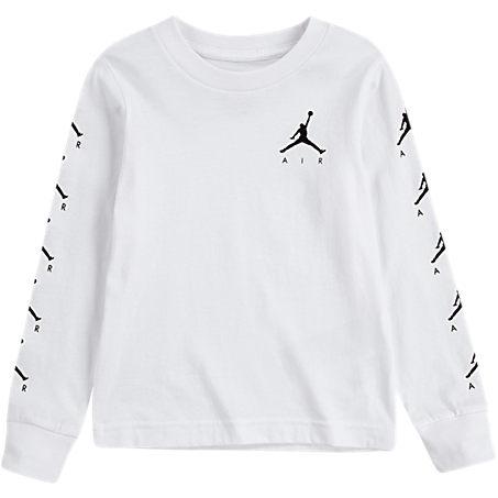 Nike T-shirts JORDAN BOYS' TODDLER JORDAN AIR TIME LONG-SLEEVE T-SHIRT IN WHITE SIZE 4 TODDLER COTTON