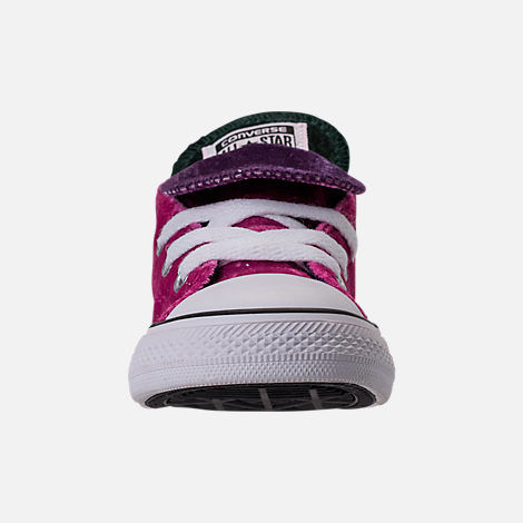 Front view of Girls' Toddler Converse Chuck Taylor All Star Velvet Double Tongue Casual Shoes in Pink Sapphire/Deep Emerald