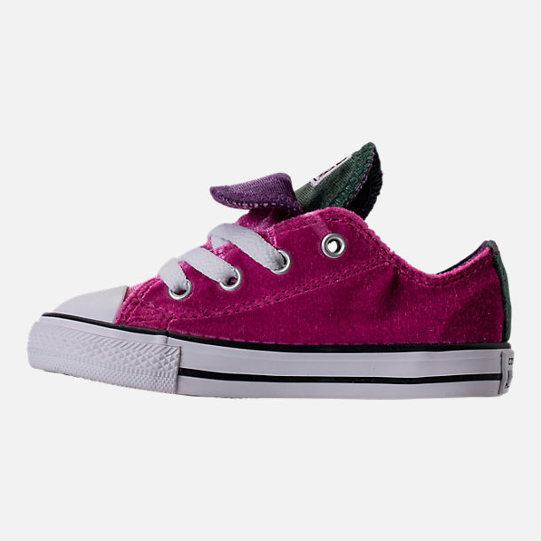 Left view of Girls' Toddler Converse Chuck Taylor All Star Velvet Double Tongue Casual Shoes in Pink Sapphire/Deep Emerald