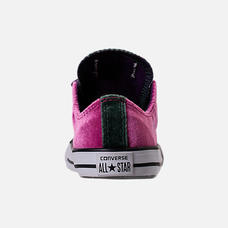 Back view of Girls' Toddler Converse Chuck Taylor All Star Velvet Double Tongue Casual Shoes in Pink Sapphire/Deep Emerald