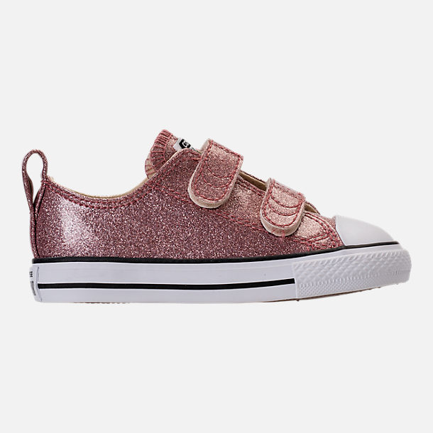 Right view of Girls' Toddler Converse Chuck Taylor Ox Glitter Hook-and-Loop Strap Casual Shoes in Rose Gold/Natural/White