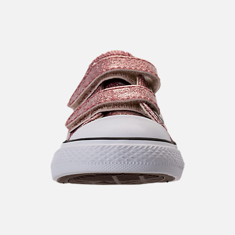 Front view of Girls' Toddler Converse Chuck Taylor Ox Glitter Hook-and-Loop Strap Casual Shoes in Rose Gold/Natural/White