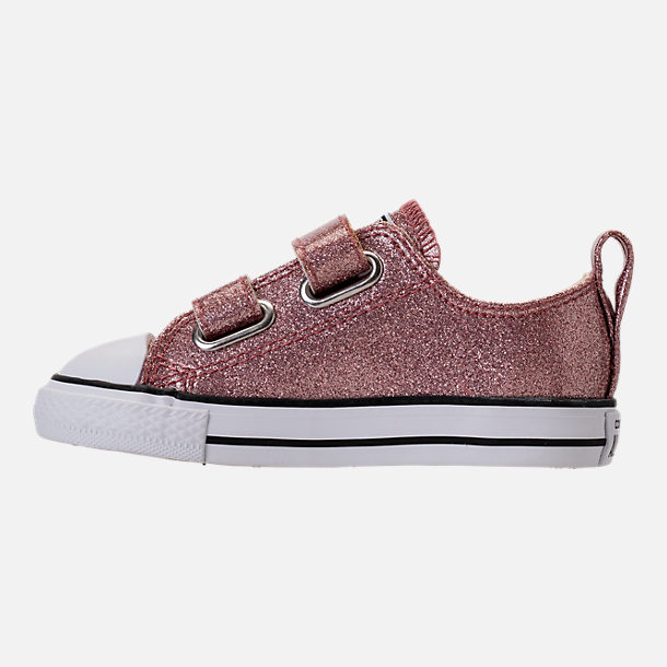 Left view of Girls' Toddler Converse Chuck Taylor Ox Glitter Hook-and-Loop Strap Casual Shoes in Rose Gold/Natural/White
