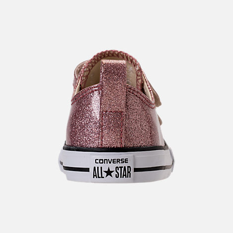 Back view of Girls' Toddler Converse Chuck Taylor Ox Glitter Hook-and-Loop Strap Casual Shoes in Rose Gold/Natural/White
