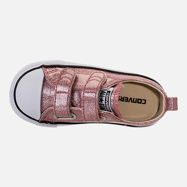 Top view of Girls' Toddler Converse Chuck Taylor Ox Glitter Hook-and-Loop Strap Casual Shoes in Rose Gold/Natural/White