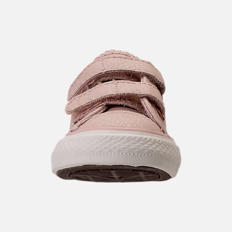 Front view of Girls' Toddler Converse Chuck Taylor Ox Leather Hook-and-Loop Strap Casual Shoes in Particle Beige/Egret/Rose