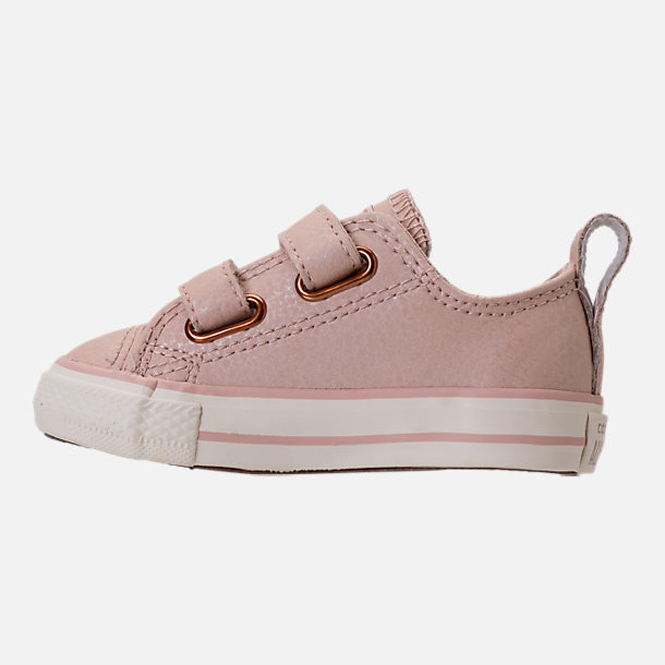 Left view of Girls' Toddler Converse Chuck Taylor Ox Leather Hook-and-Loop Strap Casual Shoes in Particle Beige/Egret/Rose