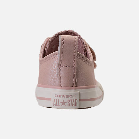 Back view of Girls' Toddler Converse Chuck Taylor Ox Leather Hook-and-Loop Strap Casual Shoes in Particle Beige/Egret/Rose