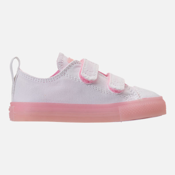 Right view of Girls' Toddler Converse Chuck Taylor All Star Ox Hook-and-Loop Casual Shoes in White/Cherry Blossom