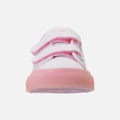 Front view of Girls' Toddler Converse Chuck Taylor All Star Ox Hook-and-Loop Casual Shoes in White/Cherry Blossom