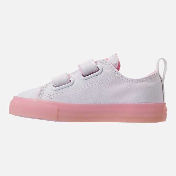 Left view of Girls' Toddler Converse Chuck Taylor All Star Ox Hook-and-Loop Casual Shoes in White/Cherry Blossom