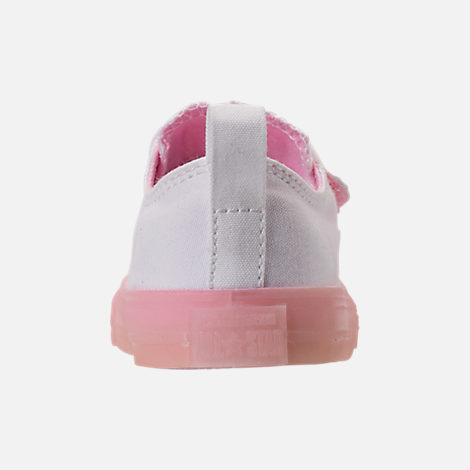 Back view of Girls' Toddler Converse Chuck Taylor All Star Ox Hook-and-Loop Casual Shoes in White/Cherry Blossom