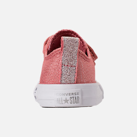Back view of Girls' Toddler Converse Chuck Taylor OX 2V Casual Shoes in Rust Pink/White