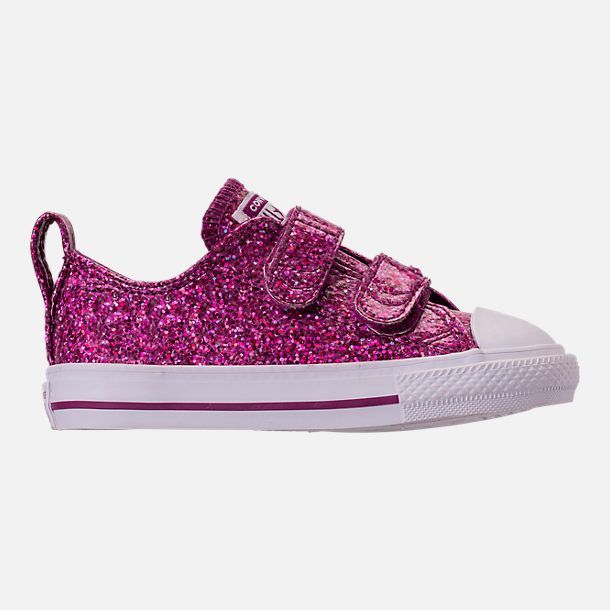 Right view of Girls' Toddler Converse Chuck Taylor Party Dress Low Casual Shoes in Icon Violet/White/White