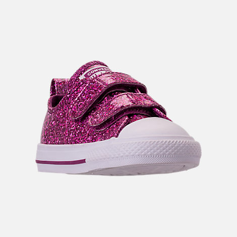 Three Quarter view of Girls' Toddler Converse Chuck Taylor Party Dress Low Casual Shoes in Icon Violet/White/White