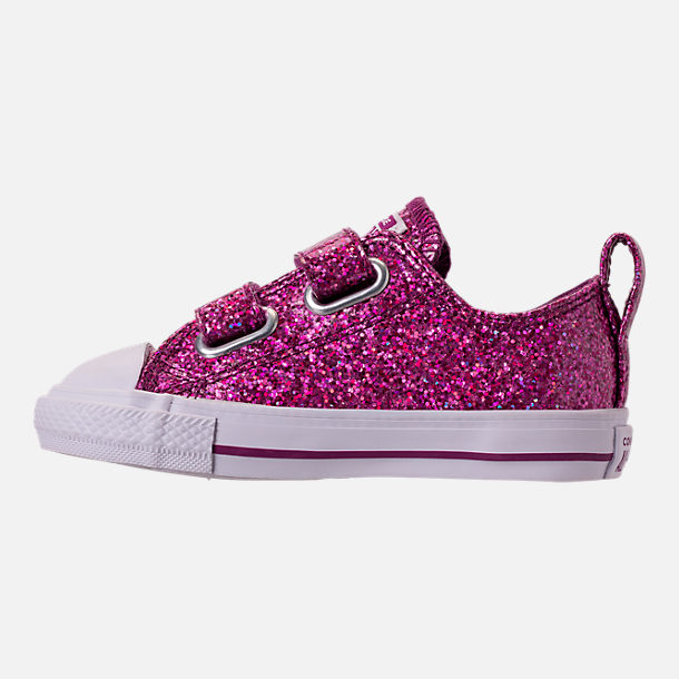 Left view of Girls' Toddler Converse Chuck Taylor Party Dress Low Casual Shoes in Icon Violet/White/White