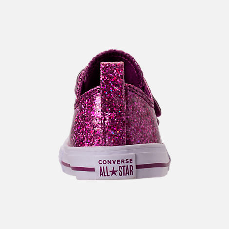 Back view of Girls' Toddler Converse Chuck Taylor Party Dress Low Casual Shoes in Icon Violet/White/White