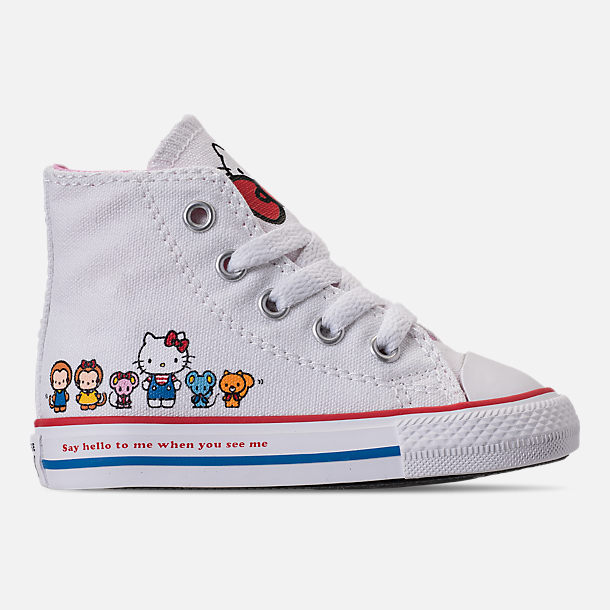 Right view of Girls' Toddler Converse Chuck Taylor All Star Hello Kitty High Top Casual Shoes in White/Pink Prism - Hello Kitty