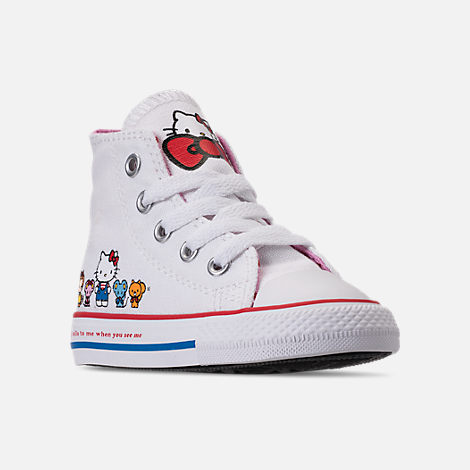 Three Quarter view of Girls' Toddler Converse Chuck Taylor All Star Hello Kitty High Top Casual Shoes in White/Pink Prism - Hello Kitty