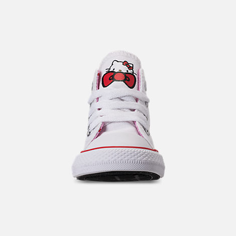 Front view of Girls' Toddler Converse Chuck Taylor All Star Hello Kitty High Top Casual Shoes in White/Pink Prism - Hello Kitty