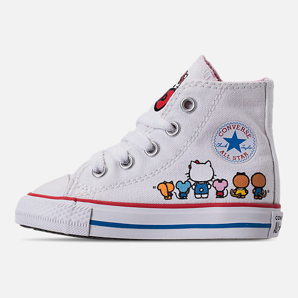 Left view of Girls' Toddler Converse Chuck Taylor All Star Hello Kitty High Top Casual Shoes in White/Pink Prism - Hello Kitty