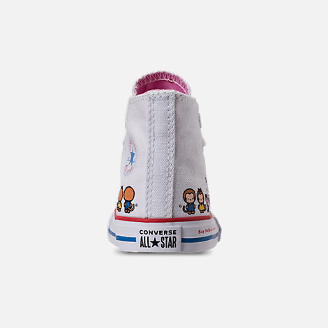 Back view of Girls' Toddler Converse Chuck Taylor All Star Hello Kitty High Top Casual Shoes in White/Pink Prism - Hello Kitty