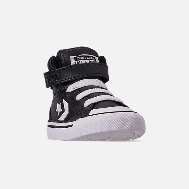 Three Quarter view of Boys' Toddler Converse Pro Blaze Strap Hi Casual Shoes in Black/White/White