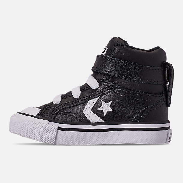 Left view of Boys' Toddler Converse Pro Blaze Strap Hi Casual Shoes in Black/White/White