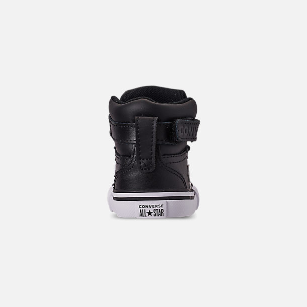 Back view of Boys' Toddler Converse Pro Blaze Strap Hi Casual Shoes in Black/White/White