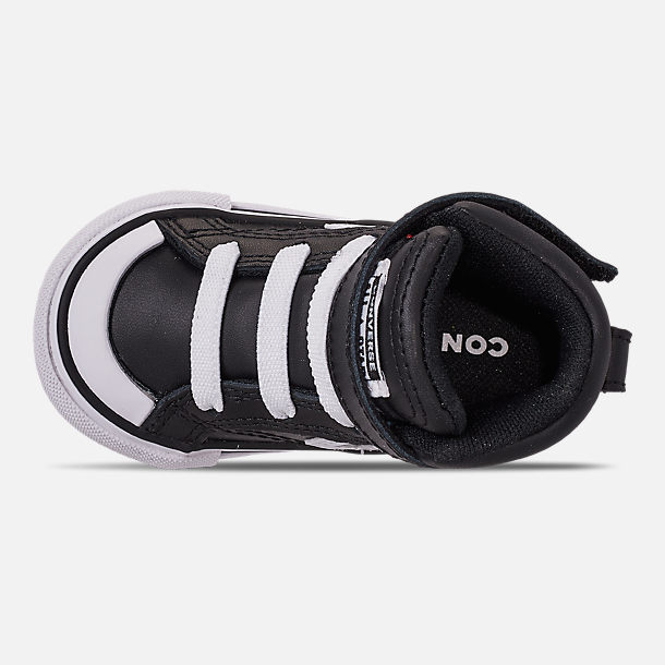 Top view of Boys' Toddler Converse Pro Blaze Strap Hi Casual Shoes in Black/White/White