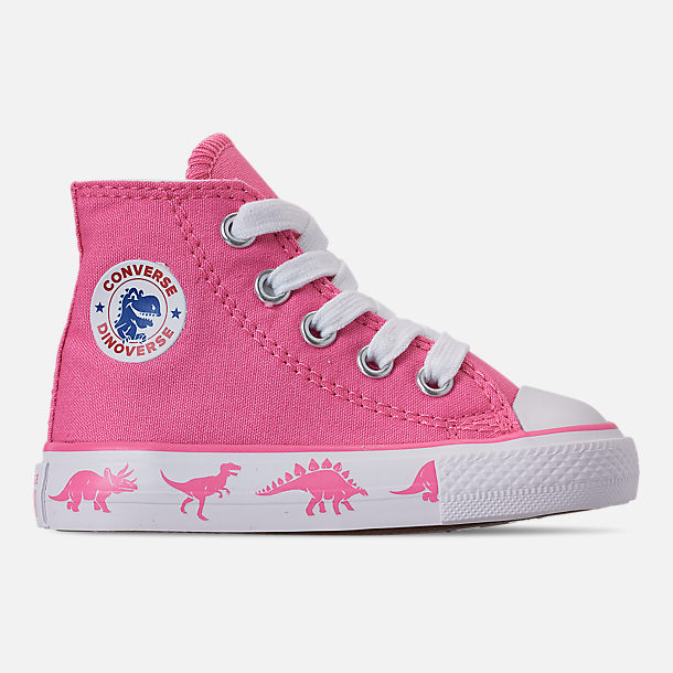 Right view of Girls' Toddler Converse Chuck Taylor All Star Dinoverse High Top Casual Shoes in Pink/White Dino