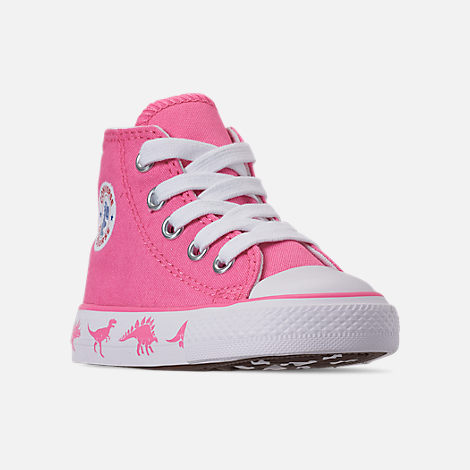 Three Quarter view of Girls' Toddler Converse Chuck Taylor All Star Dinoverse High Top Casual Shoes in Pink/White Dino