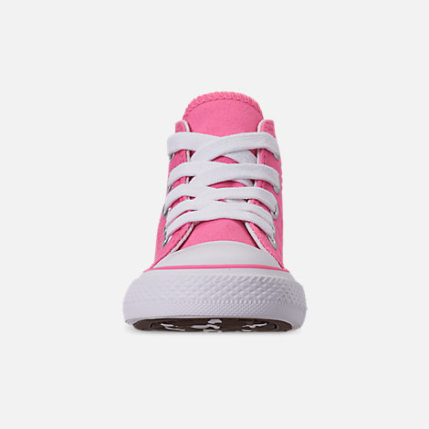 Front view of Girls' Toddler Converse Chuck Taylor All Star Dinoverse High Top Casual Shoes in Pink/White Dino