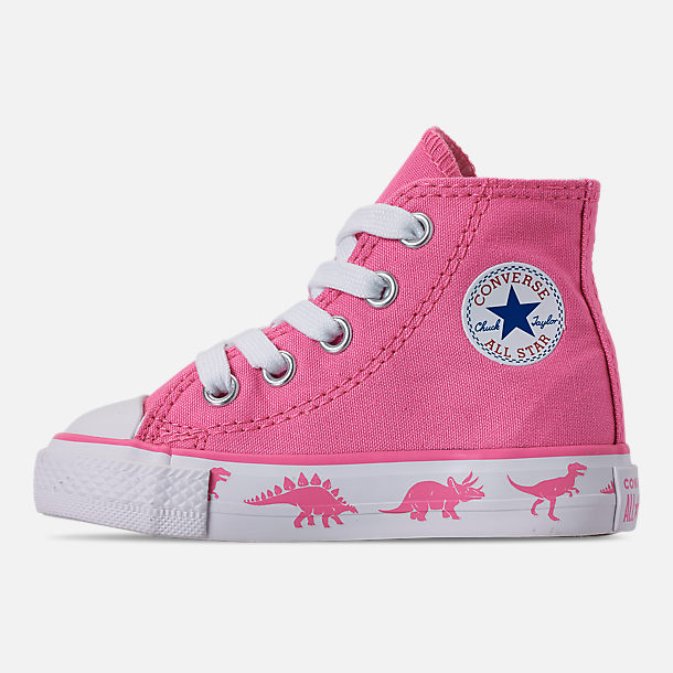 Left view of Girls' Toddler Converse Chuck Taylor All Star Dinoverse High Top Casual Shoes in Pink/White Dino
