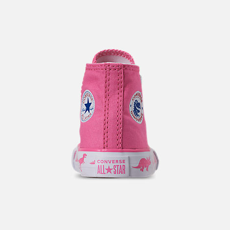 Back view of Girls' Toddler Converse Chuck Taylor All Star Dinoverse High Top Casual Shoes in Pink/White Dino